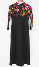 Vtg Maxi Dress Empire Waist Long Sleeve Multicolored/Black Size XS  Scoop Neck