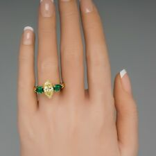 1.25CT Marquise & Pear Shape Yellow Sapphire & Emerald Trilogy Ring