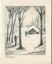 VINTAGE CHRISTMAS WINTER SNOW SKIES SNOW SHOES SKI CABIN GRAVURE ART CARD PRINT