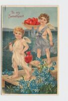 ANTIQUE POSTCARD VALENTINE TWO CUPIDS FISH FOR HEARTS ON DOCK NEXT TO WATER VIOL