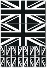 Union Jack Flag Black White Laminated Sticker Set Motorcycle Scopoter Vespa