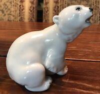 "Porcelain Polar Bear - USA Made Great Detail 4.25"" Tall 5"" Wide"
