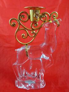 Gorham Crystal & Gold Christmas Reindeer Candlestick Candle Stick Holder