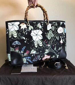 Gucci LARGE Floral Bamboo Shopper Handbag 2 Way Kris Knight Flora Tote Bag