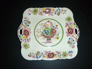Antique MASON'S CHINA ENGLAND L HANDLED VIBRANT URN FLORAL CAKE PLATE