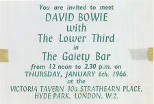 DAVID BOWIE Concert Ticket - The Gaiety Bar, Hyde Park 1966 - reprint