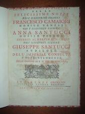 Nozze Camaiori - Santucci; NESSUN Esemplare in ICCU; Siena Pisa Firenze Toscana