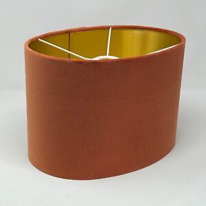 Lampshade Burnt Orange Velvet Brushed Gold Oval Light Shade