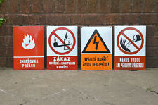 Vintage enamel signs old metal warning forbidden signs old industrial signs x4
