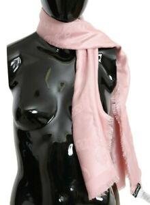 DOLCE & GABBANA Scarf Pink DG Logo Pattern Silk Wool Wrap Shawl 140x140cm