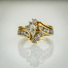 14k Gold 1ct tw Marquise Diamond Wedding Bridal Set Engagement Ring