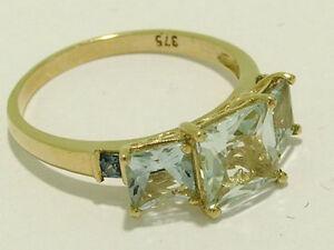 R158 Genuine 9ct Gold Natural Aquamarine Sapphire Anniversary 3-Stone Ring sz M