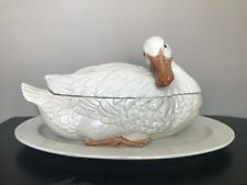 New listing 3 Pieces Fitz and Floyd White Duck, Goose, Swan, Soup Tureen 1976 Flawless Rare