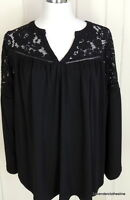 Lane Bryant 14 16 Romantic Lace Cold Shoulder Stretch Knit Peasant Tunic Blouse