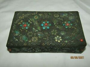 ANTIQUE CHINESE CLOISONNE ENAMEL BUTTERFLY BRASS HUMIDOR CIGARETTE BOX Floral