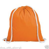 10 x Plain Orange 100% Cotton Drawstring Rucksack Tote Bags Ladies Backpack Bag