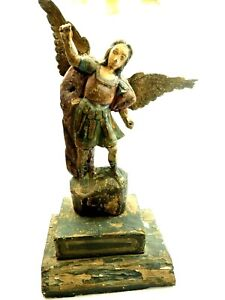 """Spanish Colonial Territorial Carved Wood Santos Saint Michael The Archangel 22"""""""