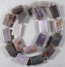 """NATURAL PURPLE IMPERIAL AGATE 20x13mm RECTANGLE PILLOW + 4mm ROUND BEADS 16"""" STR"""