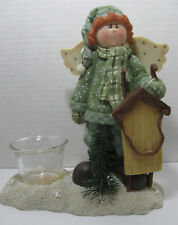 Crazy Mountain Angel with Sled Figurine Candle Votive Holder Ceramic Collectible