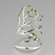 Silver Olive Branch Leaves Vine Tree of Life Ring Open Size Jewelry Band Circle