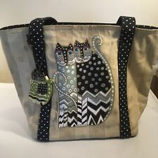 Laurel Burch Cats Polka Dot Tote Handbag Beige Black Green Wooden Cat Tag