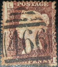 Duzik: Gb Qv Sg43 1d red brown Plate201 A-L used stamp (No1581)*
