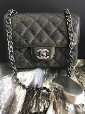NWT CHANEL 2017 Square Classic Mini Flap PEARLY CHARCOAL BLACK Caviar Crossbody