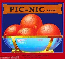 Whittier California Pic-nic Orange Citrus Fruit Crate Label Vintage Art Print