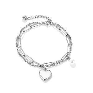 Edelstahl Damen Armband Herz Anhänger Perlmutt Doppelketten Ankerkette silber