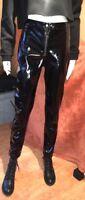 Schwarze Lackhose Vinyl Trousers H&M Größe 38 Damen schmal mit Zippern