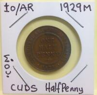 1929M UNLISTED CUDS AUSTRALIAN HALF PENNY 6 CLEAR PEARLS + 2 FAINT (FE28-1)
