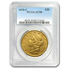 1870-S $20 Liberty Gold Double Eagle AU-50 PCGS