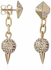New Fragments Gold Plated Pave CZ Crystal Pyramid with Fireball Drop Earrings