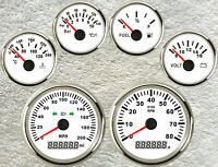 6 Gauge set,200MPH GPS Speedo With Light,Tacho,Fuel,Temp,Volt,Oil Pressure,White