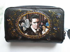 "NEW BLACK  LEATHER ""ELVIS PRESLEY ""  PICTURE PURSE /WALLET"
