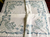 VINTAGE HAND EMBROIDERED  Willow Pattern WHITE LINEN LACE TABLECLOTH 44X48""