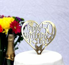 Heart Birthday Cake Topper Decoration-ANY Name and Age 1st,18th,21st,30th,40th..