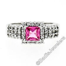14K White Gold Square Cut Pink Tourmaline Solitaire & .85ctw Diamond Halo Ring