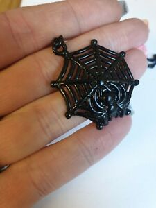 Creepy Critters Black Spider 🕷 Web 🕸 Necklace Halloween Cosplay Goth Emo Punk