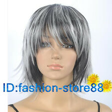 Gray Mix Short Straight Women Female Lady Hair Full Wig + wig cap