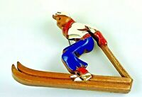 Vintage Wooden Skier Pin Brooch, Painted White, Blue and Red