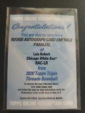 2020 Topps Triple Threads Luis Robert AUTO Emerald /50 Redemption White Sox