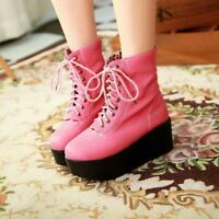 Gothic Womens Punk High Wedge Heel Platform Lace Up Ankle Boots Creepers shoes #