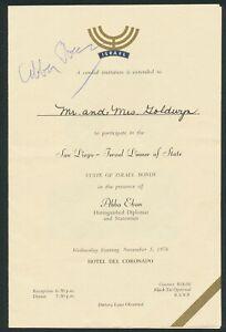 ABBA EBAN ISRAELI DIPLOMAT AUTOGRAPH SIGNED AUTO 1976 INVITATION PROGRAM d. 2002