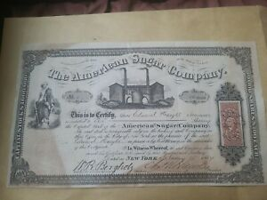 Antique The American Sugar Company 10,000 Shares Certificate New York 1864