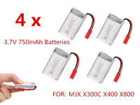 HOT! 1PCS/4PCS 3.7V 750mAh Polymer Li Battery For MJX X300C X400 X800 Quadcopter