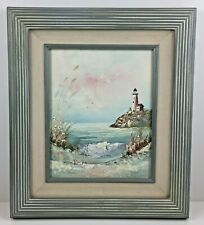 VTG Brian Roche Lighthouse Painting Original Oil on Canvas Seascape Beach Signed