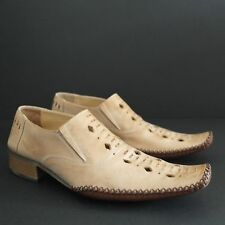 KYBELE Hand Made Moccasin Slip on Loafer Shoes Brown Leather