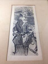 Vintage Original JACQUES VILLON Portrait of Fete Champetre Framed Etching Print