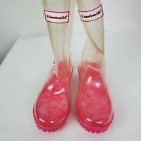 American Girl Wellie Wishers Girl Peek A Boo Rain Boots Clear & Pink Size 1/2